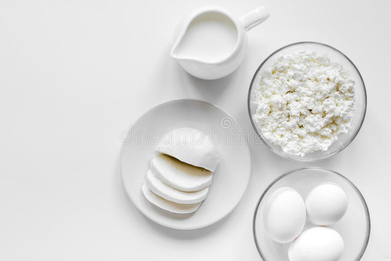 white table top view. Download Monochrome Concept With Dairy Products On White Table Top View Mockup Stock Photo - Image L
