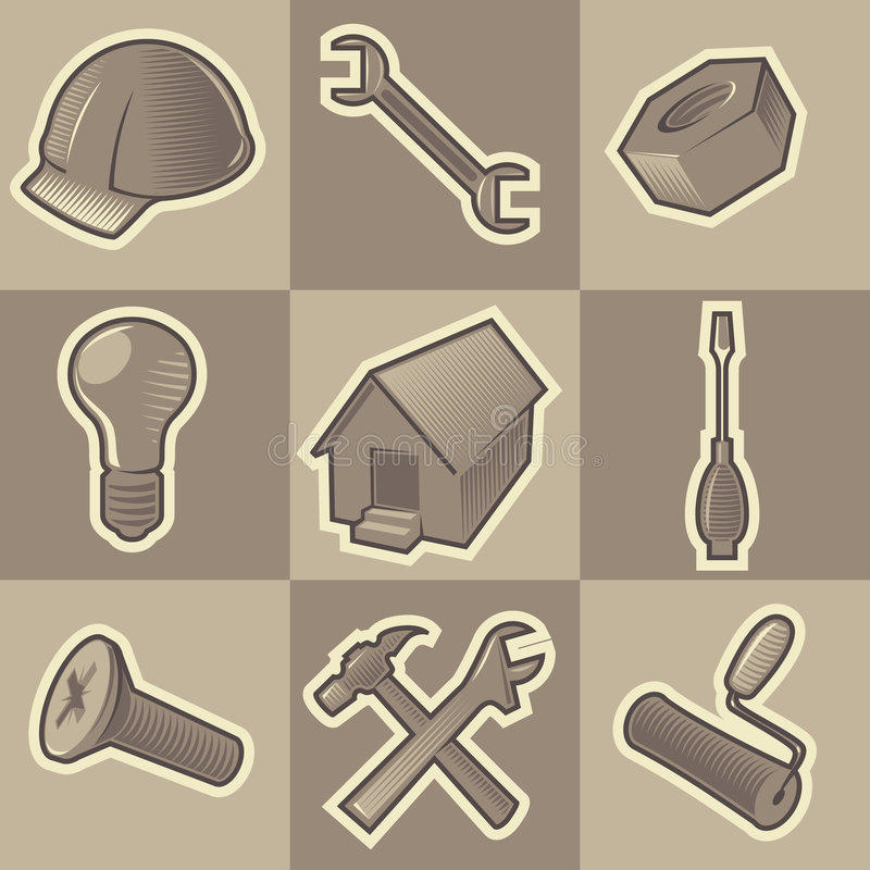 Free Monochrome Construct Icons Royalty Free Stock Photo - 8588665