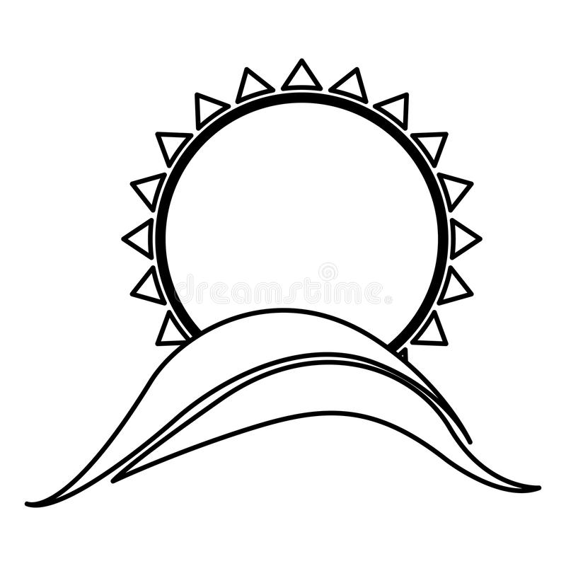 Monochrome contour with abstract sun over hill. Illustration royalty free illustration