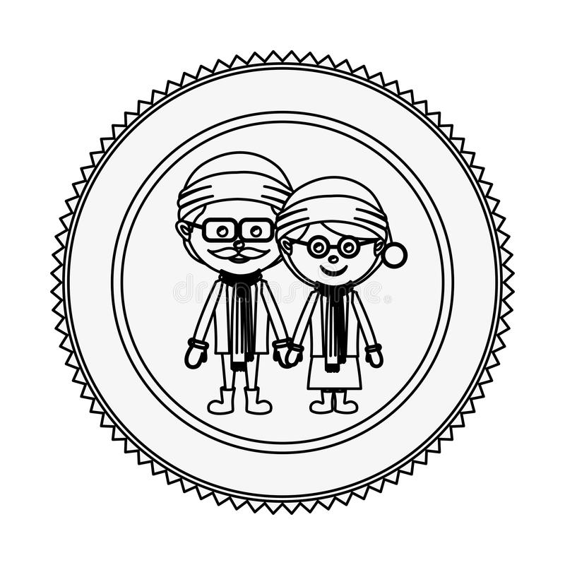 Monochrome contour circle with grandparents with christmas clothes. Vector illustration vector illustration