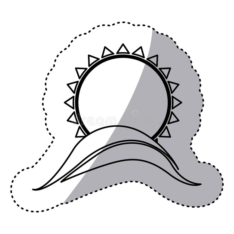 Monochrome contour sticker with abstract sun over hill. Illustration vector illustration