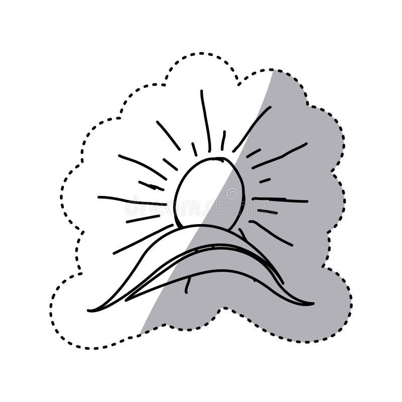 Monochrome contour sticker with hand drawn sun over hill. Illustration stock illustration
