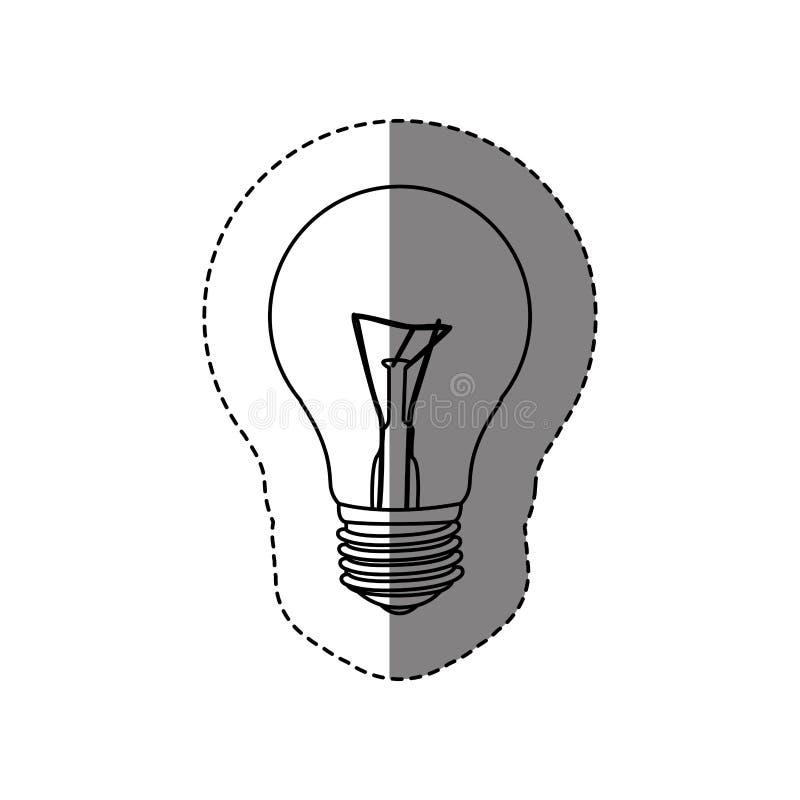 Monochrome contour sticker with silhouette of bulb light. Illustration stock illustration