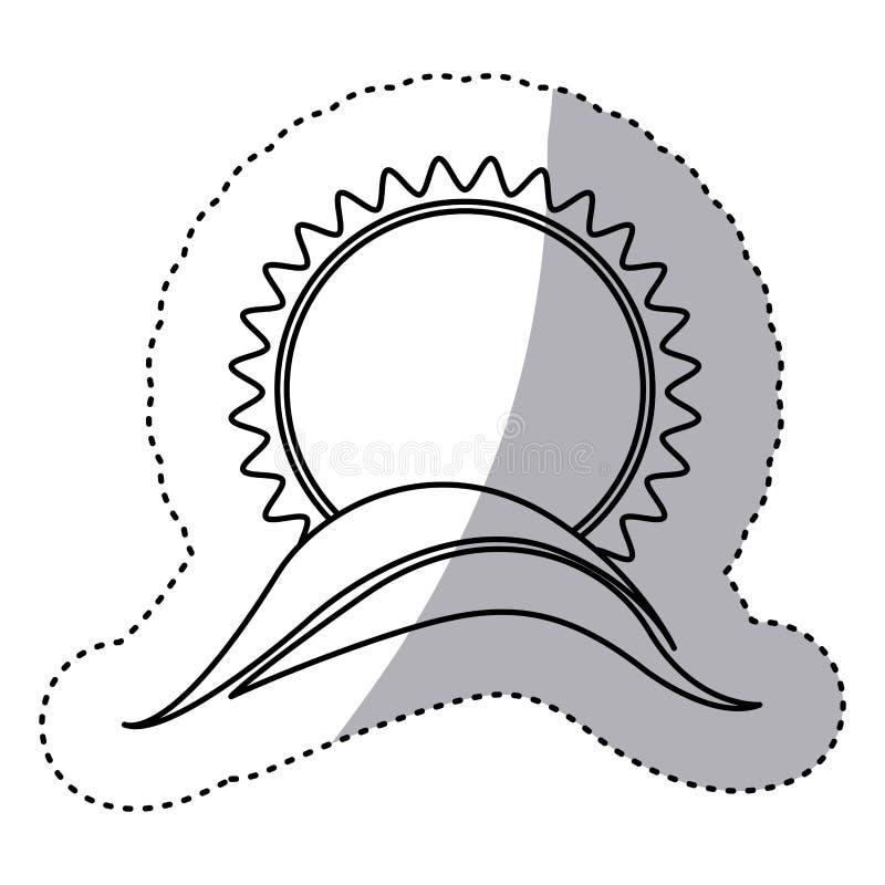 Monochrome contour sticker with sun over hill close up. Illustration stock illustration