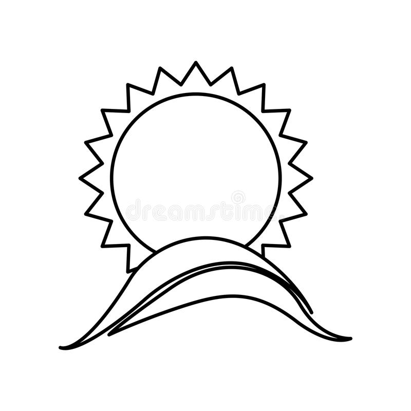 Monochrome contour with sun over hill from far. Illustration royalty free illustration
