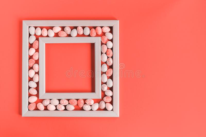 Monochrome coral small Easter Eggs frame royalty free stock image