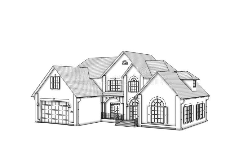 Download Monochrome cottage stock illustration. Image of render - 25200408