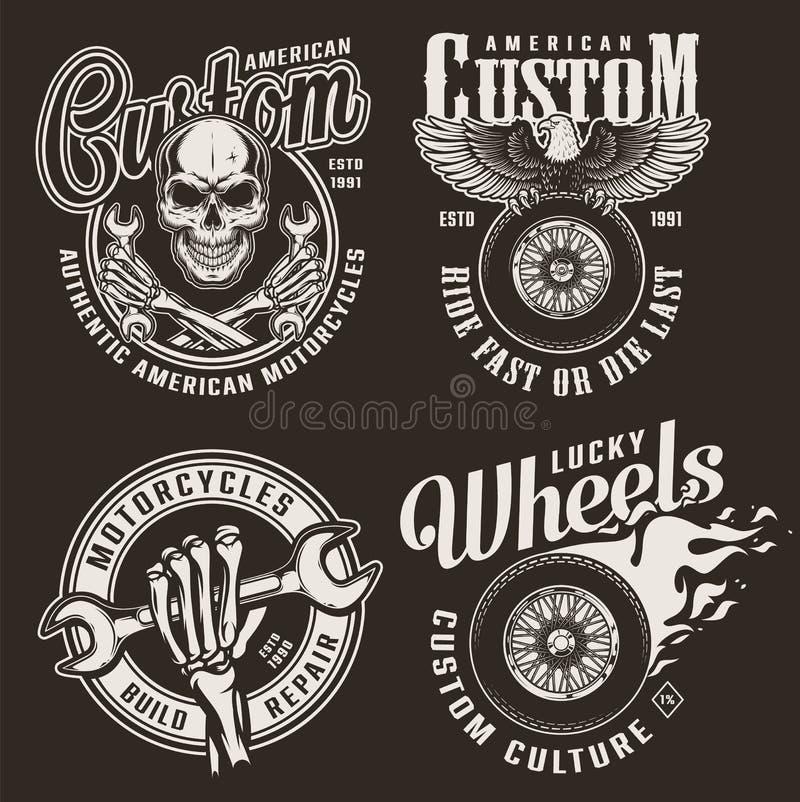 Monochrome custom motorcycle emblems stock illustration