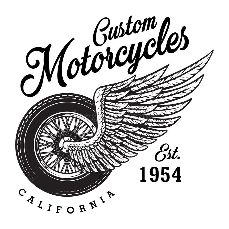 Monochrome custom motorcycle logotype stock illustration