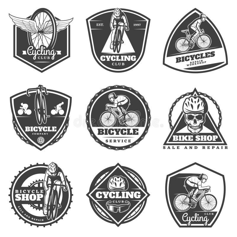 Monochrome Cycling Labels Set vector illustration