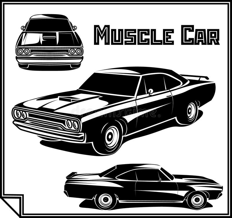 Monochrome d'affiche de vecteur de voiture de muscle illustration de vecteur
