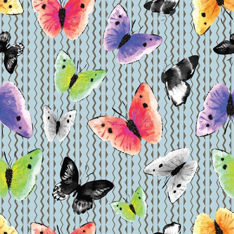 Monochrome d'aquarelle et papillons multicolores sur un fond ethnique graphique et moderne de zigzag Configuration sans joint de  photos stock