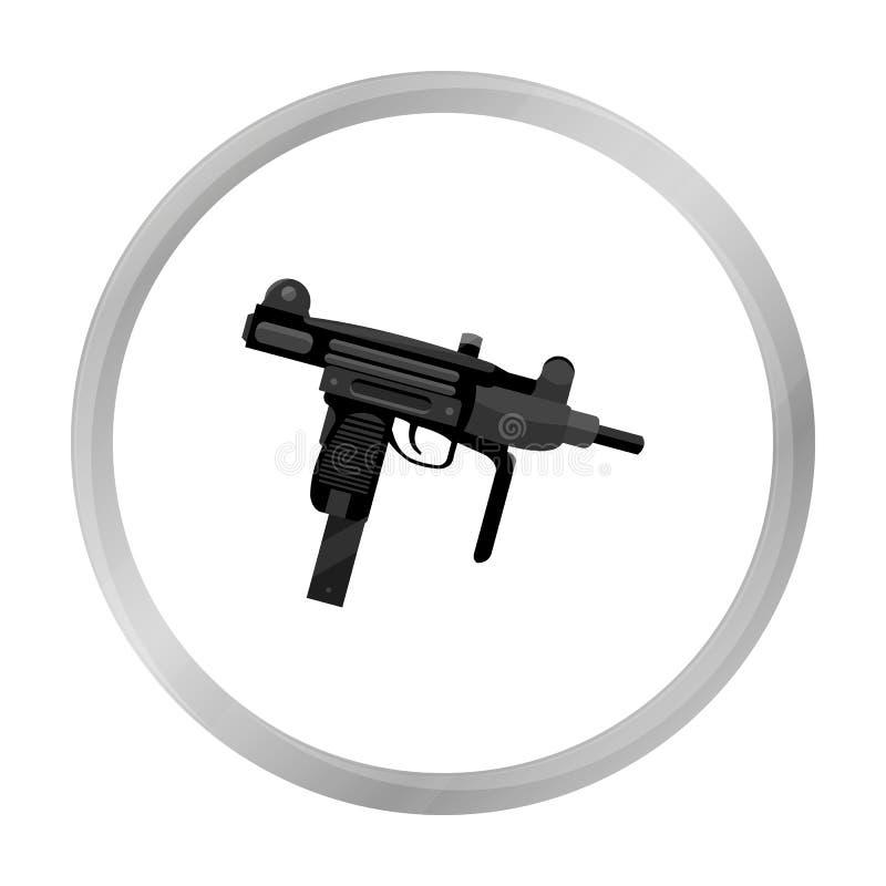 Monochrome d'icône d'arme d'UZI Icône simple d'arme des grandes munitions, bras réglés illustration de vecteur