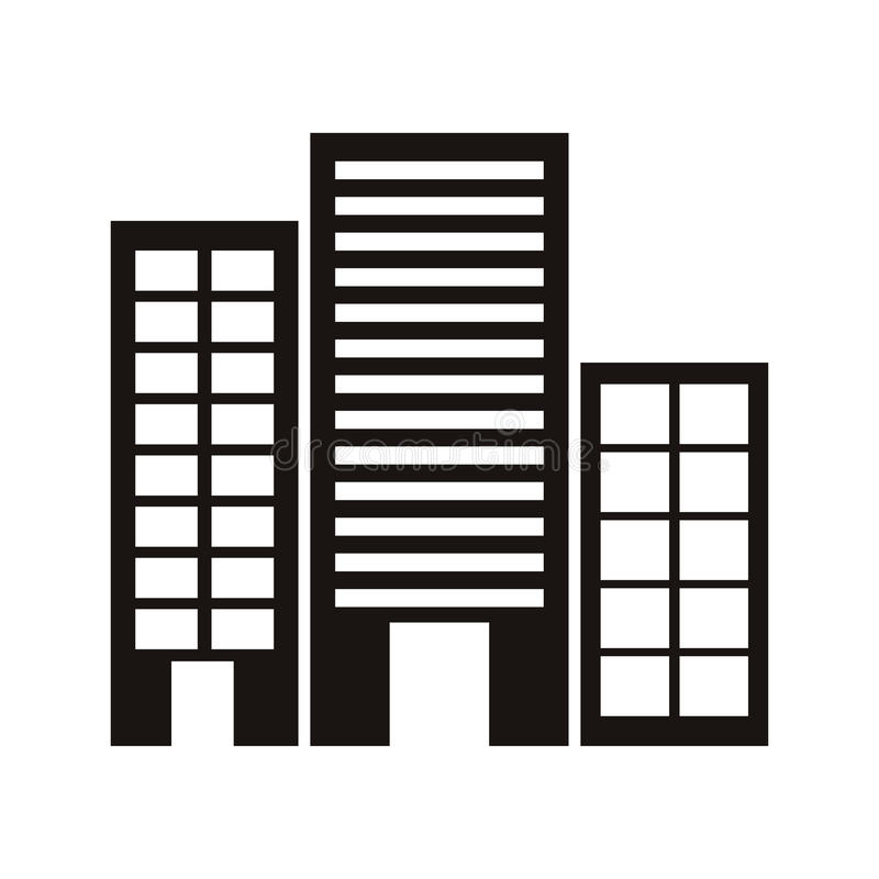 Monochrome da silhueta com construções de escritórios ilustração stock