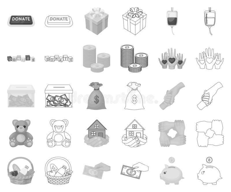 Monochrome de charité et de donation, icônes d'ensemble dans la collection réglée pour la conception r illustration stock
