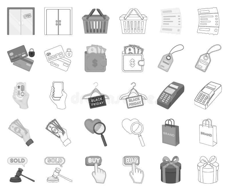 Monochrome de commerce électronique, d'achat et de vente, icônes d'ensemble dans la collection réglée pour la conception Symbole  illustration de vecteur
