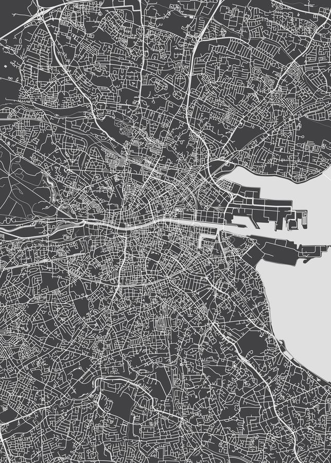 Monochrome detailed plan city of Dublin. Detailed map of the city of streets, squares and rivers vector illustration