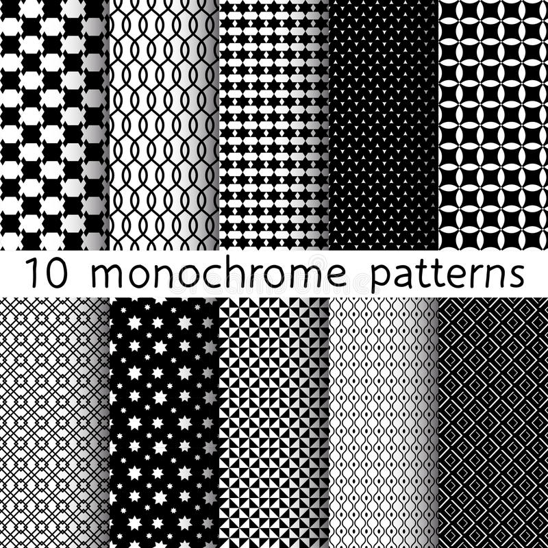 10 Monochrome different vector seamless patterns. vector illustration