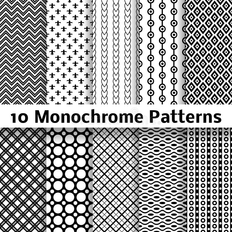 Monochrome different vector seamless patterns royalty free illustration