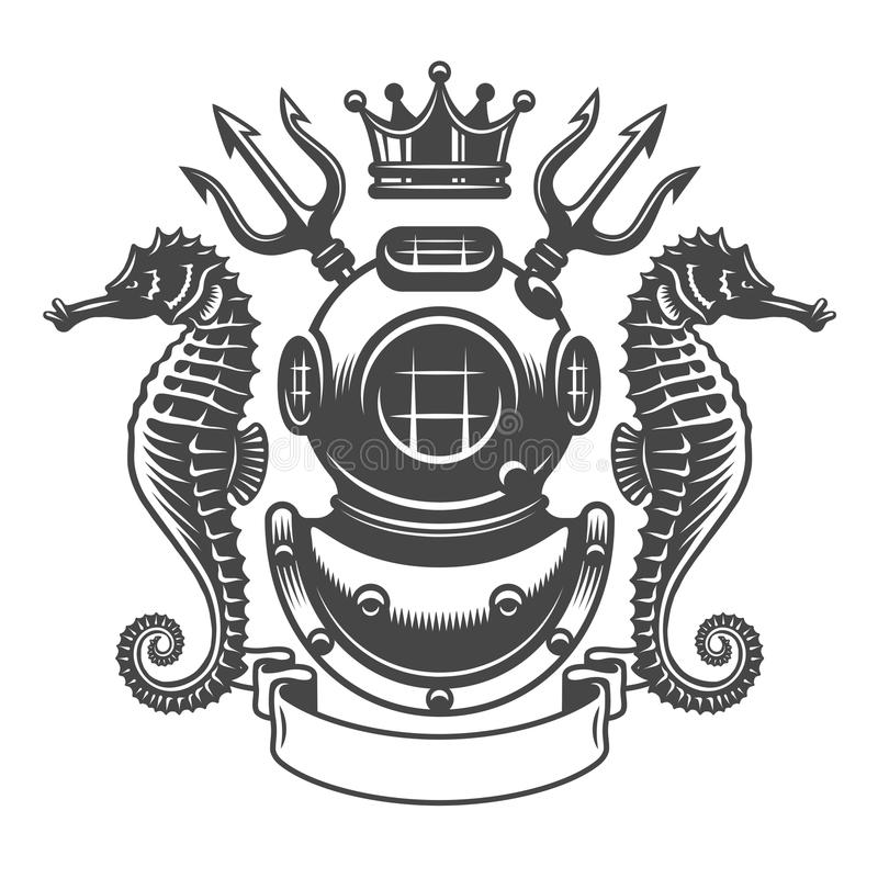 Monochrome diving label emblem stock illustration