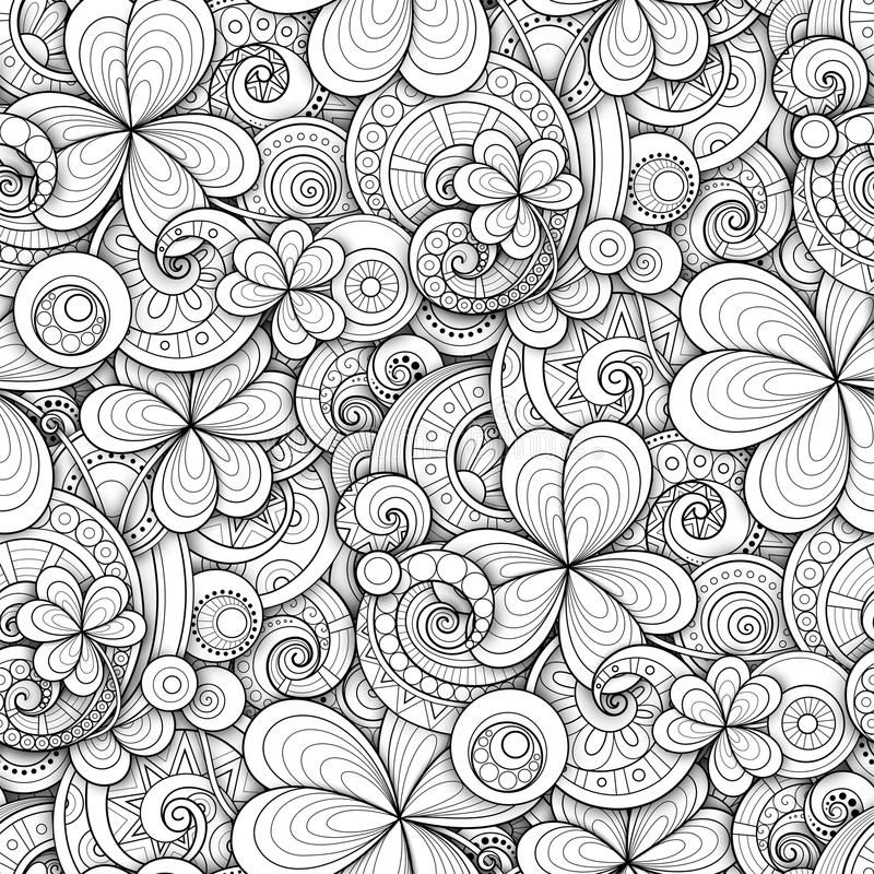 Monochrome Doodle St Patrick`s Day Seamless Pattern. Decorative Clover Leaf Talisman, Abstract Coins and Swirl. Elegant Natural Background. Coloring Book Page royalty free illustration