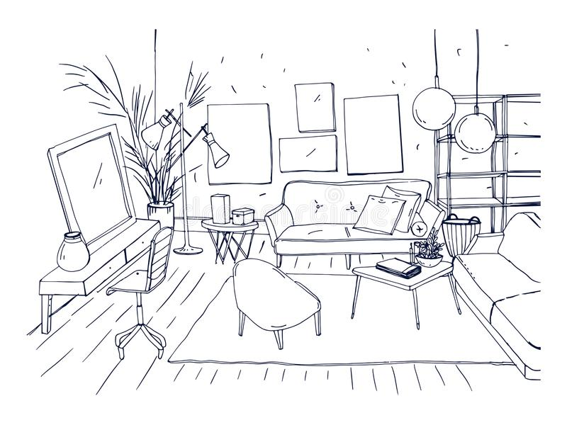Monochrome Drawing Of Interior Of Living Room With Sofa