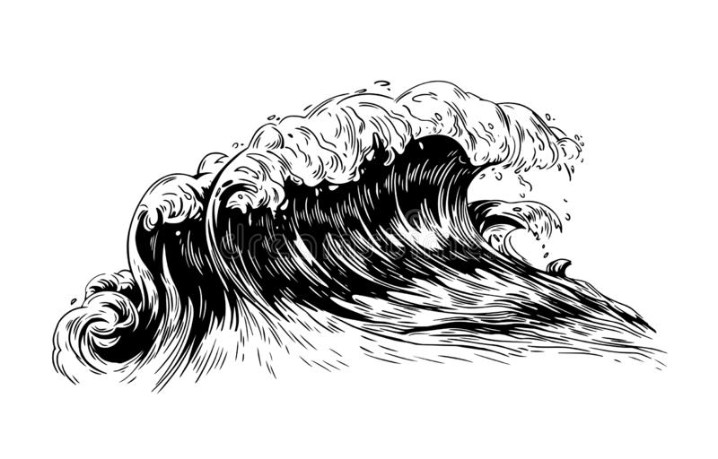 Monochrome drawing of sea or ocean wave with foaming crest. Oceanic storm, tide, seawave hand drawn with black contour stock illustration