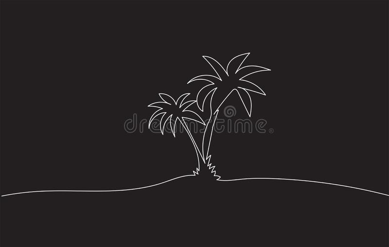 Monochrome Drawing sketch of two coconut palm trees royalty free stock images