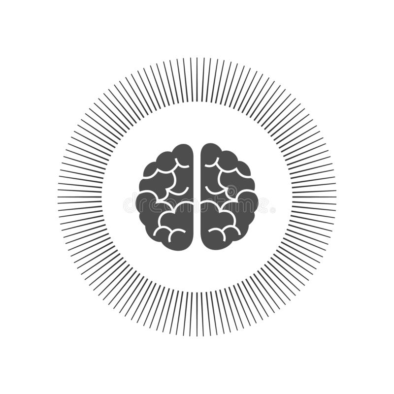 Monochrome engraving brain illustration in top view isolated on white background vector illustration