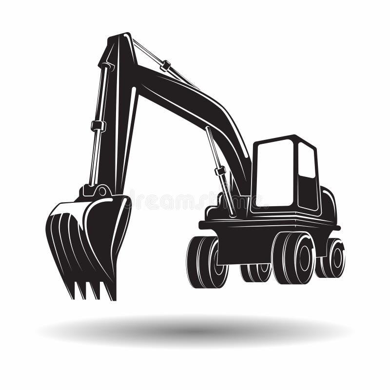 Monochrome excavator icon. Heavy excavator machine with shovel monochrome icon, on white background, vector royalty free illustration