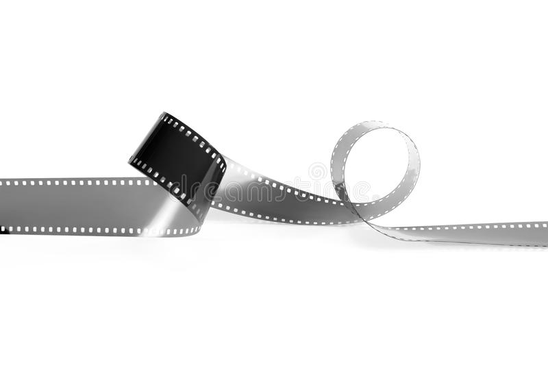 Monochrome film for the analog camera. Isolated. Empty monochrome film from the analog camera on a white background. It is isolated, the worker of paths is stock photography