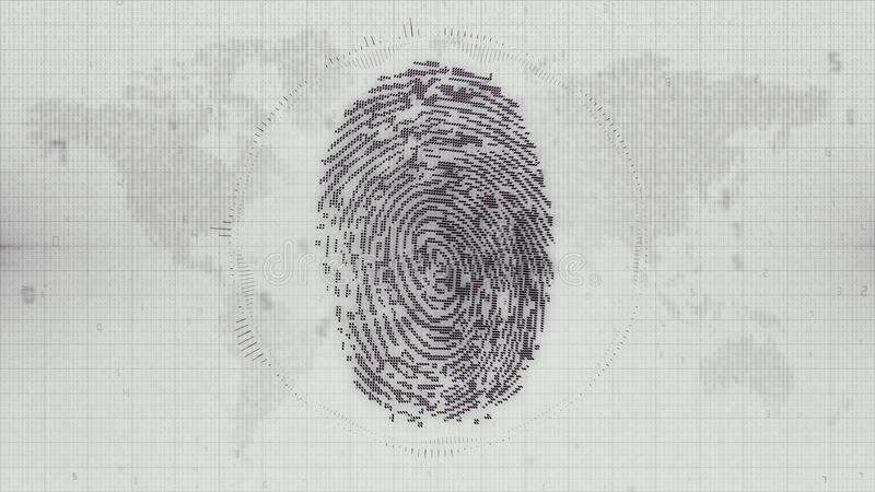 Download Monochrome Fingerprint Electronic ID On Earth Map Background Stock Illustration - Illustration of electronic, blue: 107222259