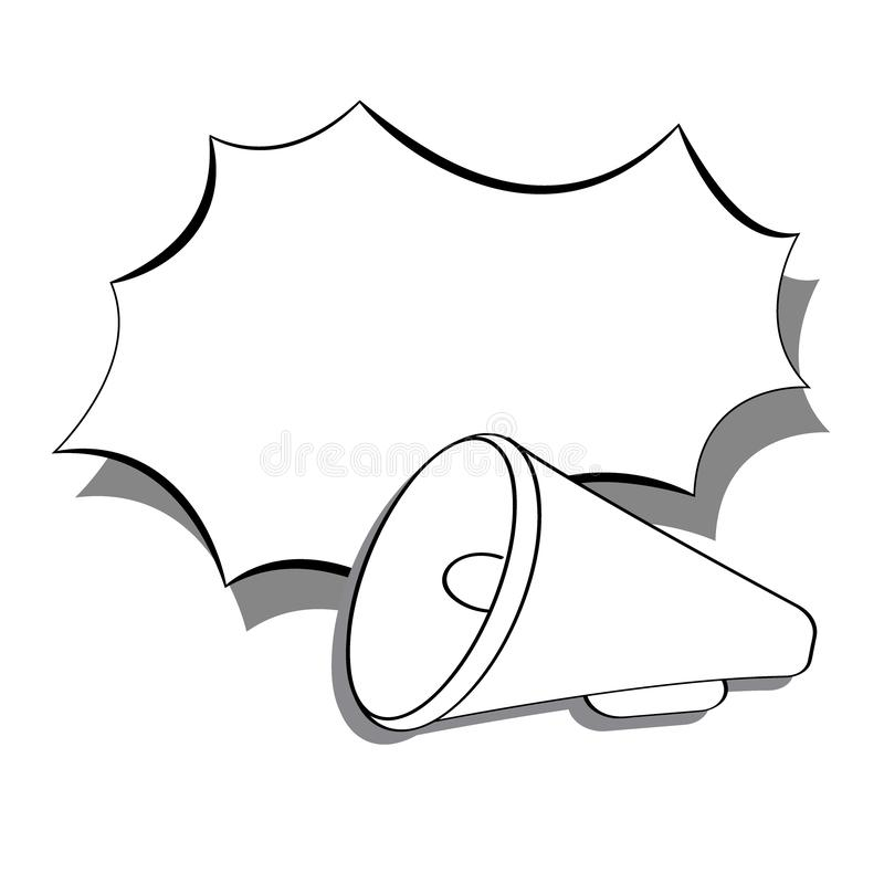 Monochrome flat loudspeaker, bullhorn icon with speech bubble in pop art style. Monochrome flat loudspeaker icon in cartoon style. Horn and speech bubble. Pop royalty free illustration