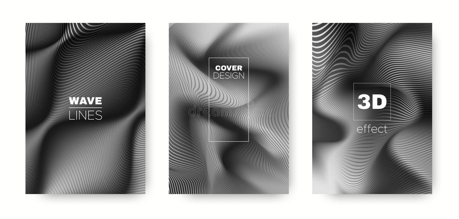 Monochrome Flow Concept. Abstract Cover. Business. Brochure. 3d Movement Linear Texture. Wave Template. Monochrome Headline Cover. Business Brochure. Wave stock illustration