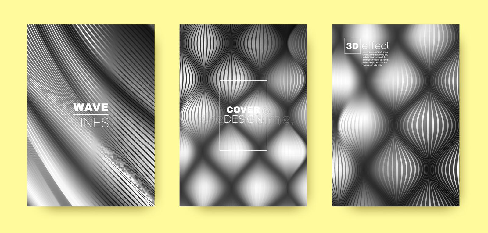 Monochrome Flow Concept. Vector Cover. Dynamic. Background. 3d Movement Halftone Texture. Fluid Template. Gray Design Cover. Business Brochure. Flow Template royalty free illustration