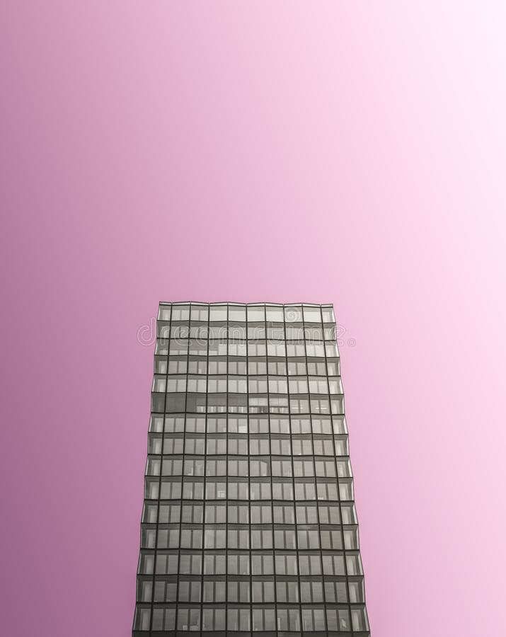 Monochrome Glass Skyscraper On Pink stock images