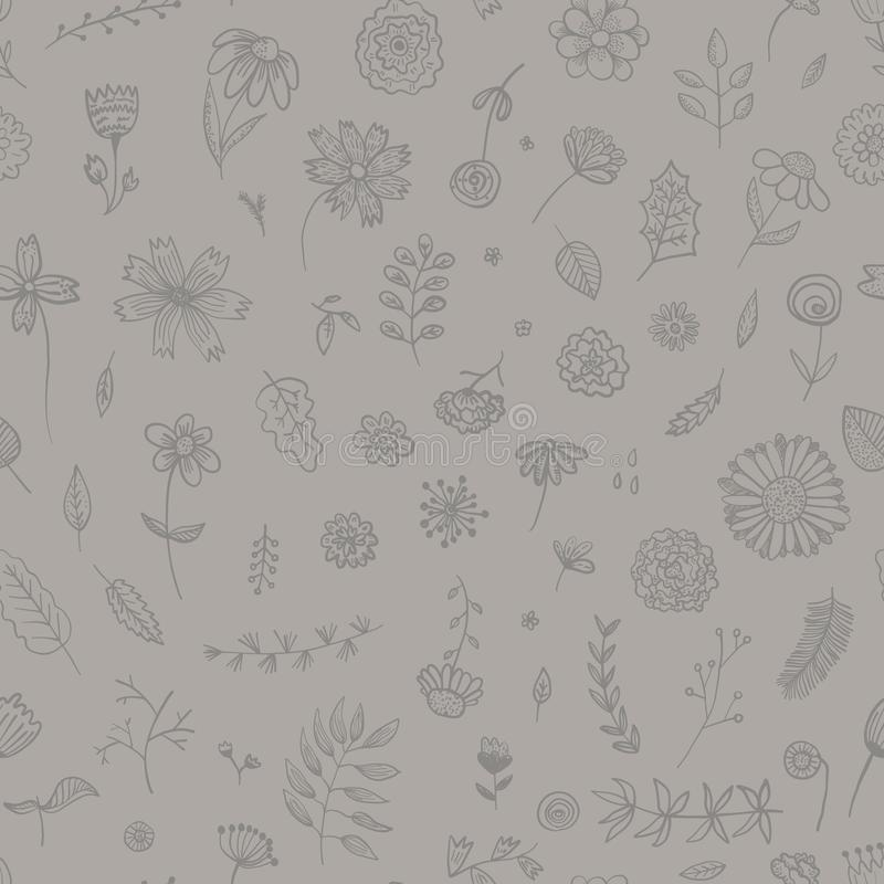 Monochrome gray floral pattern stock illustration