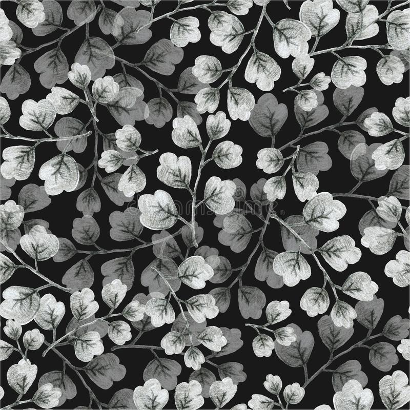 Monochrome gray plants, leaves of branches and flowers,  drawing in pencil illustration, seamless pattern. Monochrome gray plants, leaves of branches and flowers stock illustration
