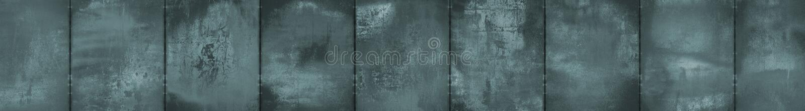 Monochrome Grungy Panoramic Metal Background (Letterbox Format). A monochrome grungy panoramic background made of metal sheets royalty free stock photography