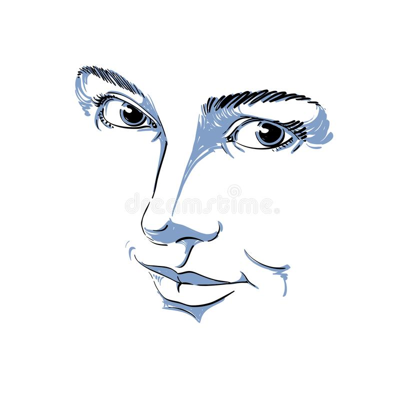 Monochrome hand-drawn mask with face features and emotional expressions. Beautiful lady, portrait of flirting woman. vector illustration