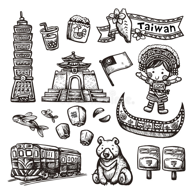 Monochrome hand drawn style Taiwan specialties and attractions royalty free illustration