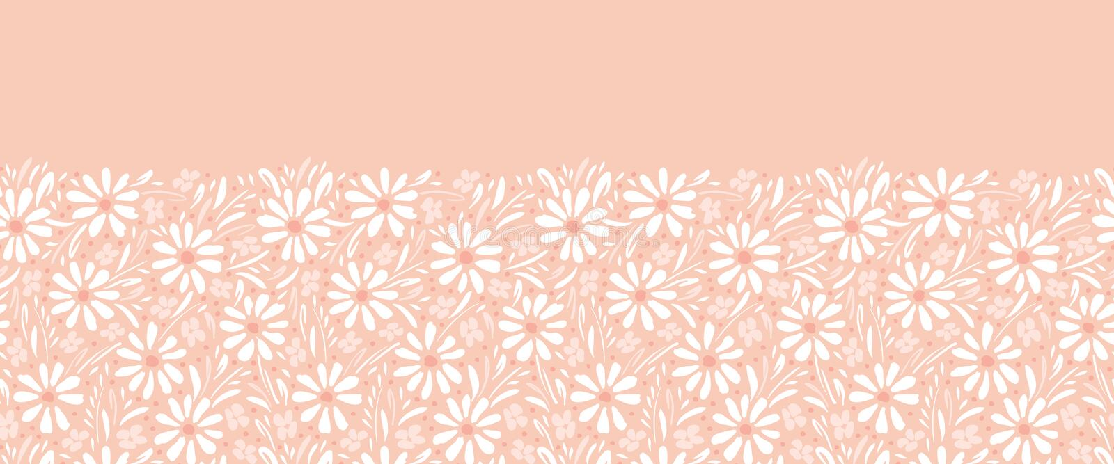 Monochrome hand-painted daisies and foliage on peach pink background horizontal vector seamless border. Floral Edge. Monochrome hand-painted daisies and foliage royalty free illustration