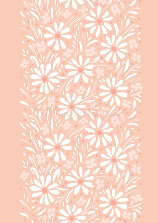 Monochrome hand-painted daisies and foliage on peach pink background vertical vector seamless border. Floral Edge. Monochrome hand-painted daisies and foliage on royalty free illustration