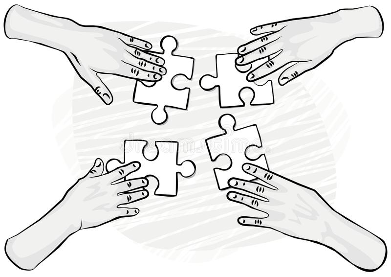 Monochrome hands with puzzles teamwork