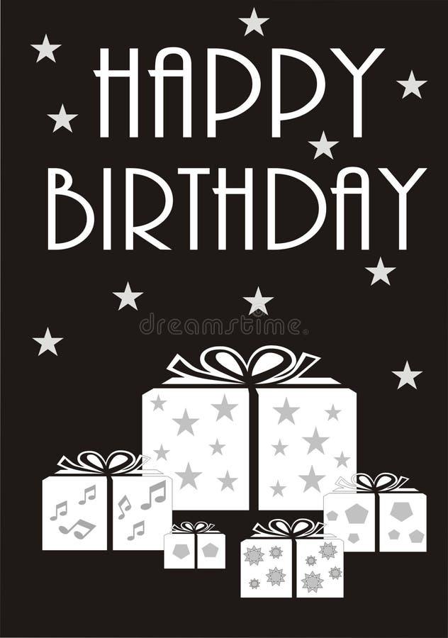 Monochrome Happy Birthday Card royalty free stock image