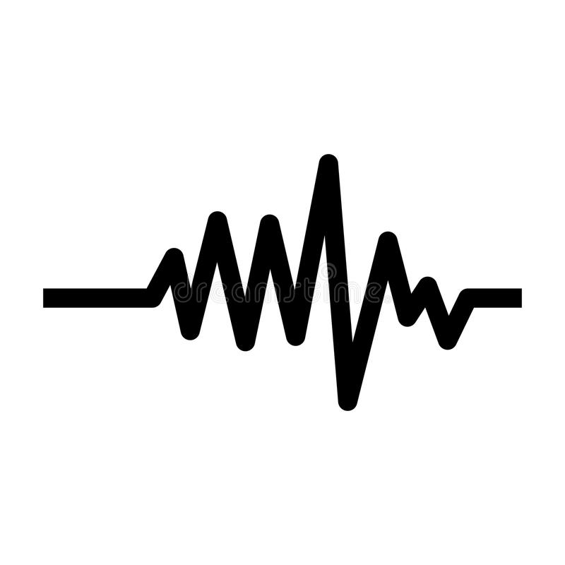 Monochrome heart beat monitor pulse line vector illustration