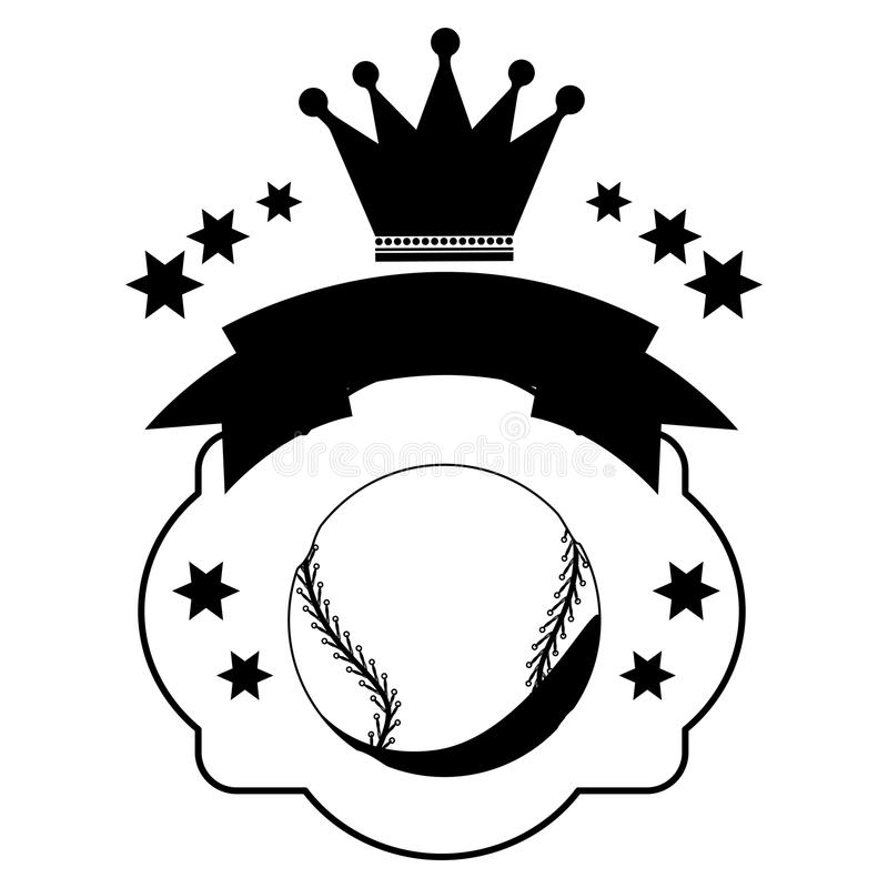 Monochrome heraldic с шариком бейсбола и лентой и кроной иллюстрация штока