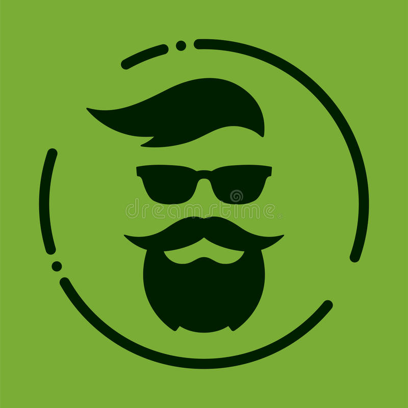 Monochrome hipster with beard, glasses, haircut, mustaches. Silh. Ouette, avatar, label, logo emblem on a green background Vector illustration royalty free illustration