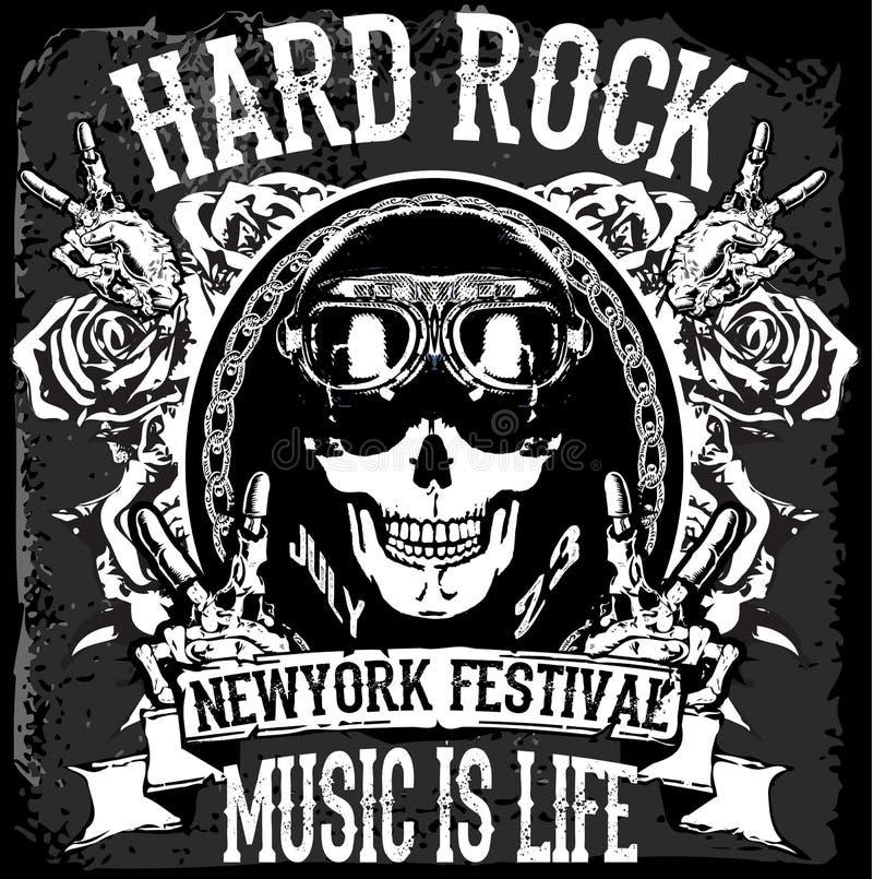 Monochrome hipster vintage label , badge , flayer. Hard rock for poster or t-shirt print with skull poster stock illustration