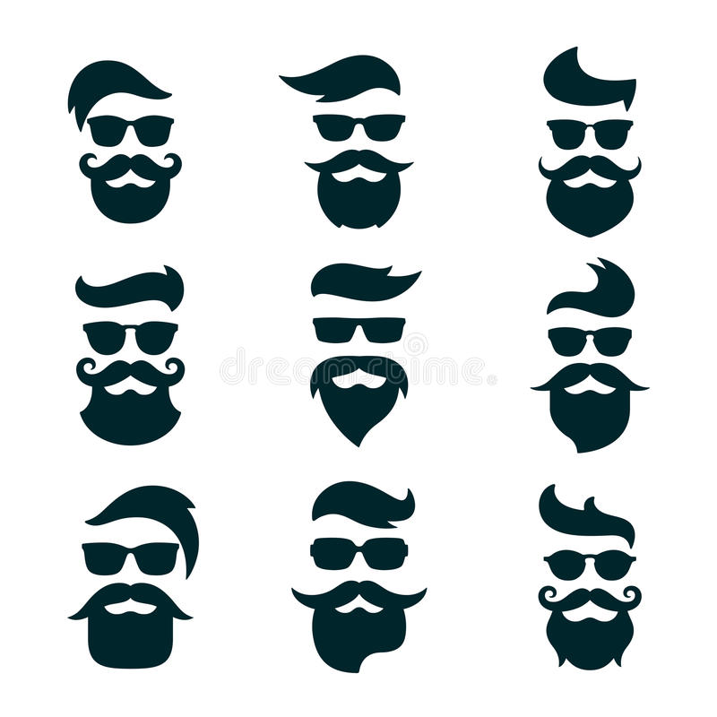 Monochrome hipsters faces set with different beards, glasses, ha. Ircuts, mustaches. Silhouettes, avatars, labels Vector illustration vector illustration